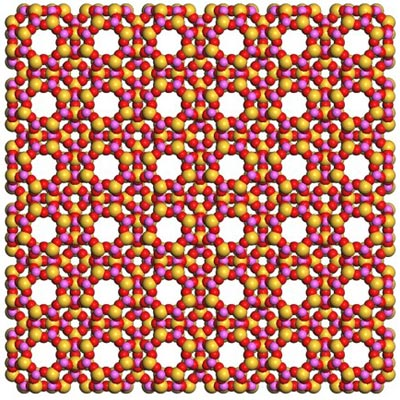 Diagram of a square grid of alternating red, pink, and yellow atoms. There are regularly spaced holes in the grid where there are no atoms.